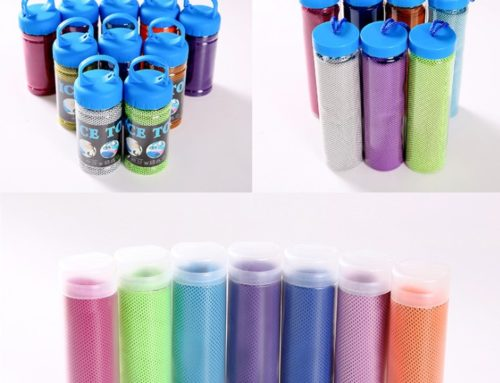 Wholesale fast dry mesh fabric printed logo compact cooling towel with bottle