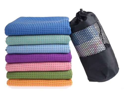 Custom microfiber thick fabric anti slip with dot pattern yogitoes skidless towel