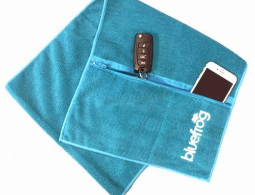 Warp knitted microfiber embroidery logo with 2 pockets custom gym towels manufacturer