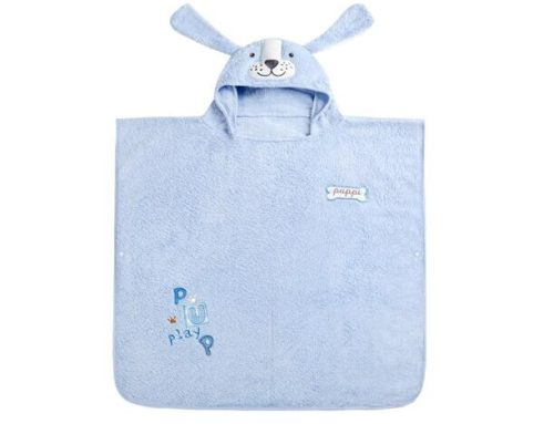 Pure cotton cartoon embroidered dog pattern poncho wrap cape for kids bath towel