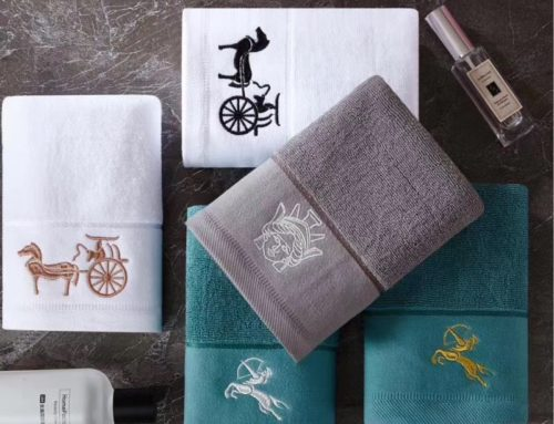 Wholesale hotel and spa embroidered logo dobby pattern soft cotton towels bath