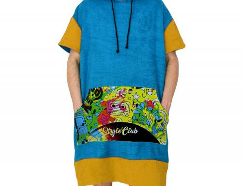 European quality comfortable cotton velour front printed with hoodie ponchos knit supplier