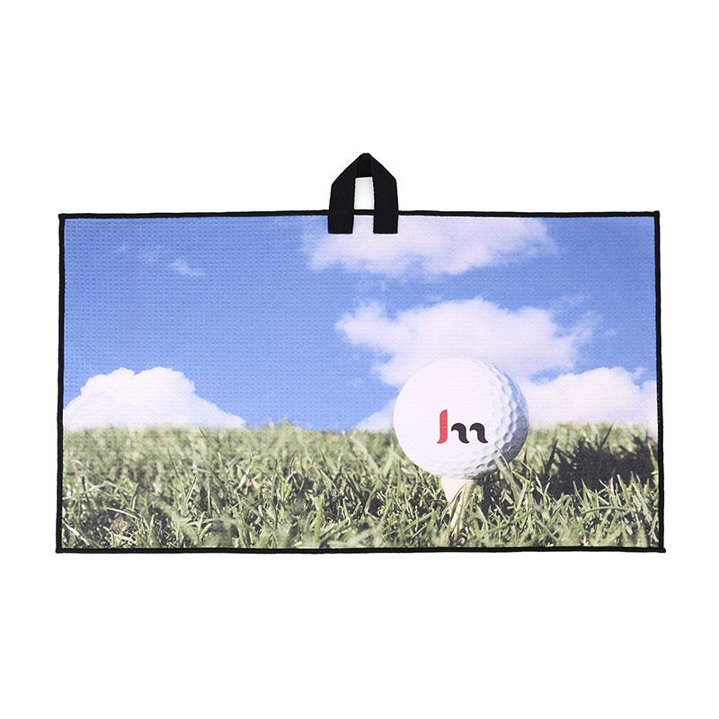 asciugamano da golf stampato promozionale con gancio prezzo all'ingrosso
